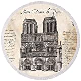 Pixels Round Beach Towel With Tassels featuring ''Notre Dame De Paris'' by Debbie DeWitt