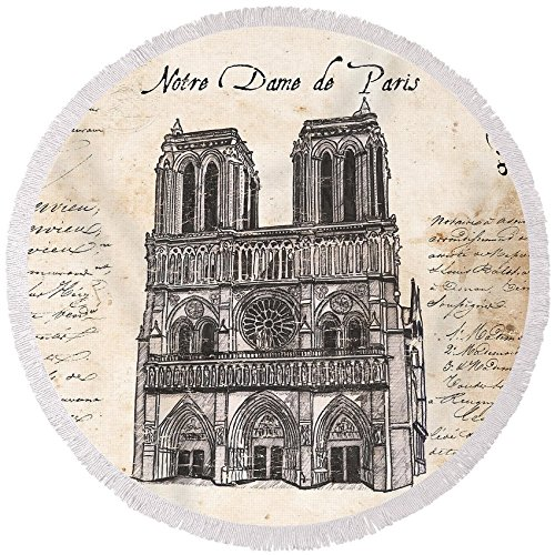 Pixels Round Beach Towel With Tassels featuring ''Notre Dame De Paris'' by Debbie DeWitt by Pixels