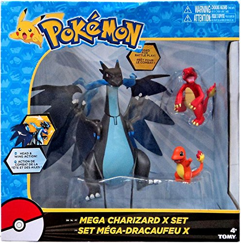 Pokemon Mega Charizard X 3-Figures Exclusive Set by Tomy- 1 Black Articulation Charizard, 1 Red Articulating Charmeleon, and 1 Orange Charmander