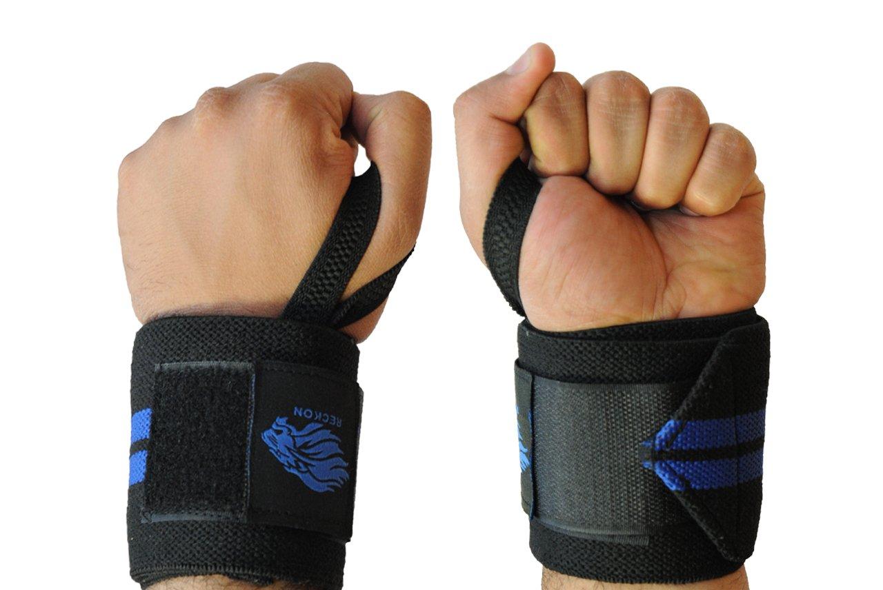 c41de75e59 Amazon.com : Reckon Wrist Wraps (30cm/60cm/80cm) Heavy Duty with Thumb  Loops - Wrist Support Wraps for Men & Women - Weightlifting, Powerlifting,  ...