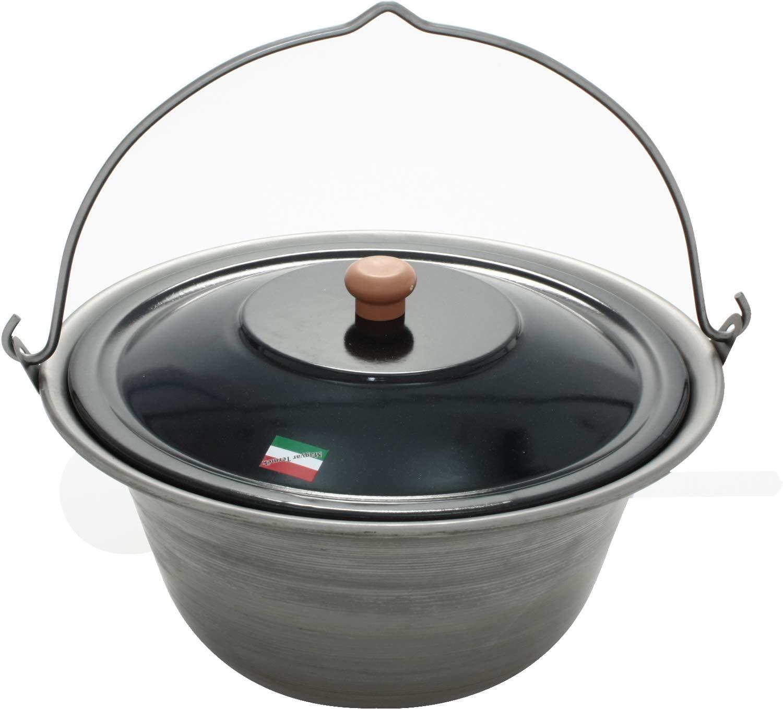 Grillplanet Gulaschkessel 10 Liter Eisen und Deckel, original in Ungarn hergestellt