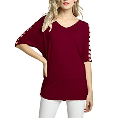 Afibi Womens Cold Shoulder Tunic Tops Batwing 3 4 Sleeve Solid Long T Shirts