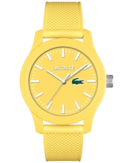 Lacoste Hombres de amarillo correa de silicona reloj 43 mm 2010774: Amazon.es: Relojes