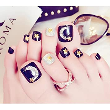 MENILITHS 24 piezas de uñas postizas para uñas postizas con diseño de luna y estrella para dedos de los pies, color negro: Amazon.es: Hogar