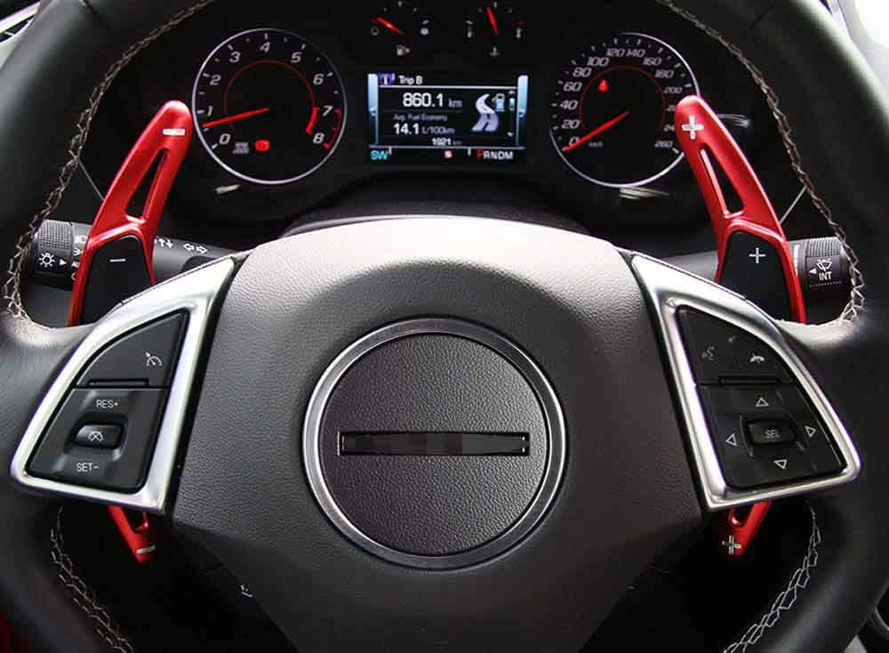 Red Aluminum Alloy Compatible for Camaro 2016 2017 2018 2019 Interior Accessories Car DSG Steering Wheel Shift Paddles Shifters Replacement Kit