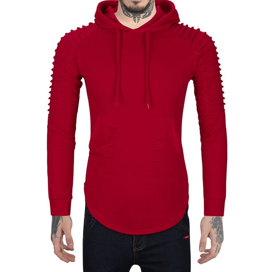 WM & MW Novelty Men's Hoodies Ruffle Shoulder Rip Hooded Sweatshirt Pulover Tops Jacket with Pocket (XL=(US:L), Red)