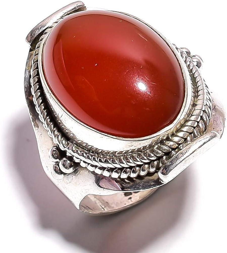 mughal gems & jewellery Anillo de Plata esterlina 925 Anillo de joyería Fina de Piedras Preciosas Naturales de cornalina para Mujeres (Tamaño 7 U.S)