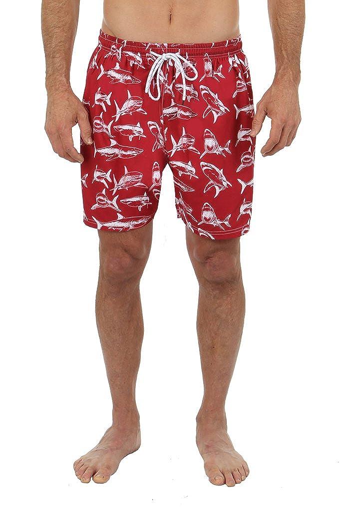 828206c3f515b UZZI Men's Shark Print Swim Shorts at Amazon Men's Clothing store: