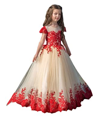 bcb56e60cf Red Lace Flower Girl Dress Applique Kids Pageant Wedding Party Dress