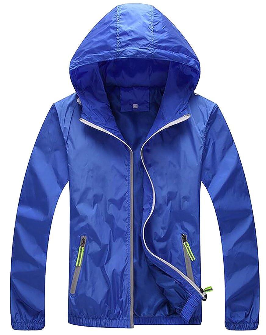 Sweatwater Women's Casual Plus Size Hooded Zip-Front Windbreaker Jackets