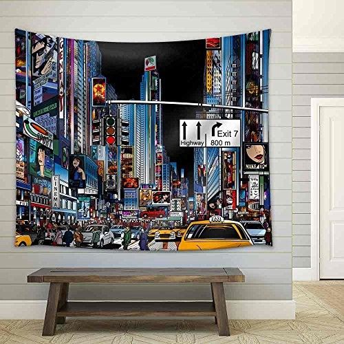 Vector Illustration of a Street in New York City at Night Fabric Wall