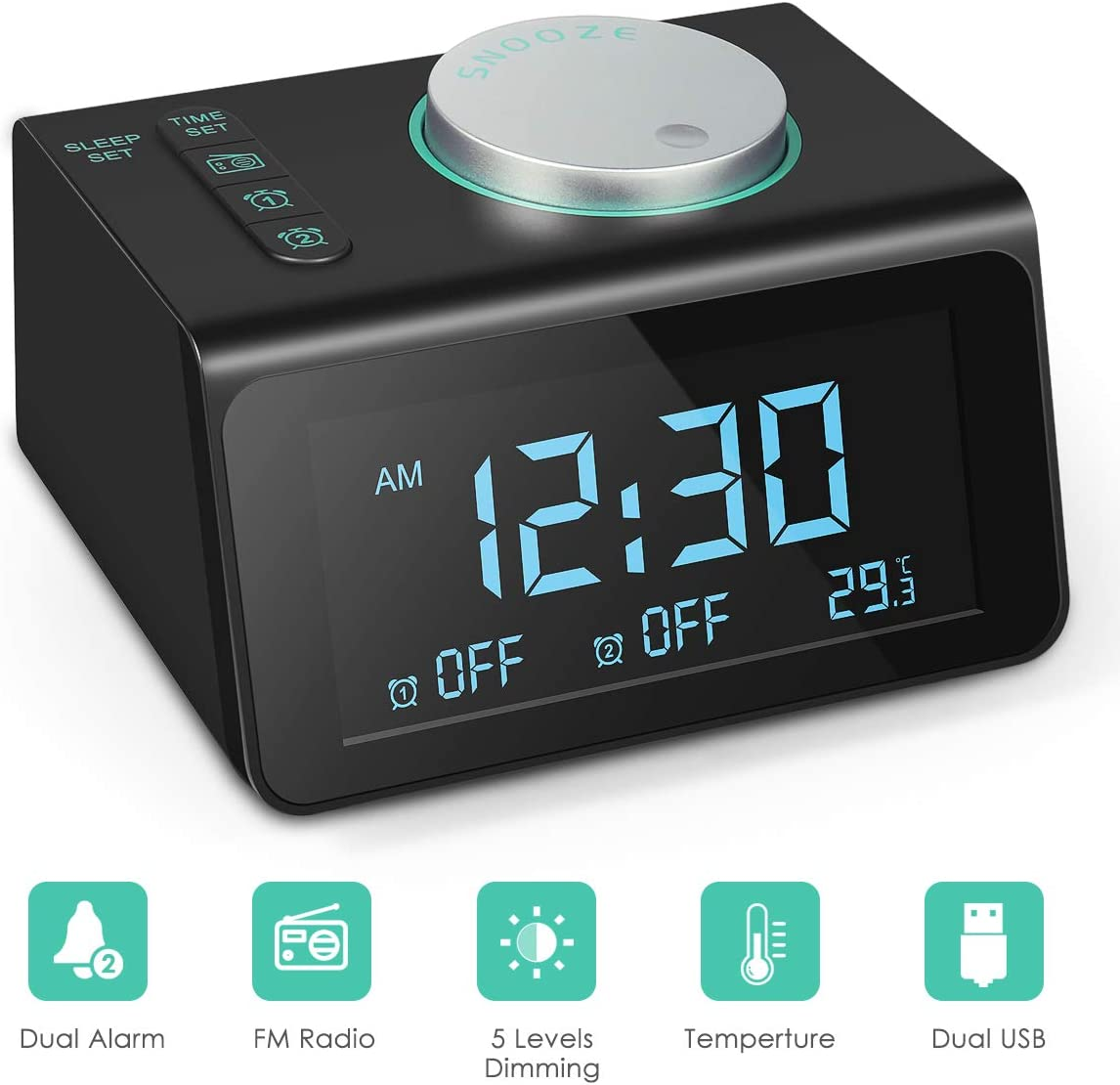 Vandoras Radio Alarm Clock, 2019 Upgraded FM Radio, Dual USB Charging Ports, Temperature Display, Dual Alarms with 7 Alarm Sounds, 5 Level Brightness Dimmer
