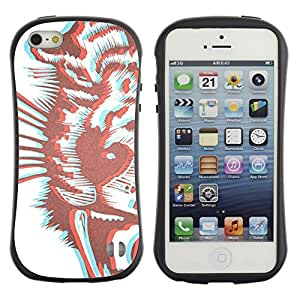 "Hypernova Slim Fit Dual Barniz Protector Caso Case Funda Para Apple iPhone SE / iPhone 5 / iPhone 5S [Tiger 3D de Brown Dibujo estereoscópica""]"