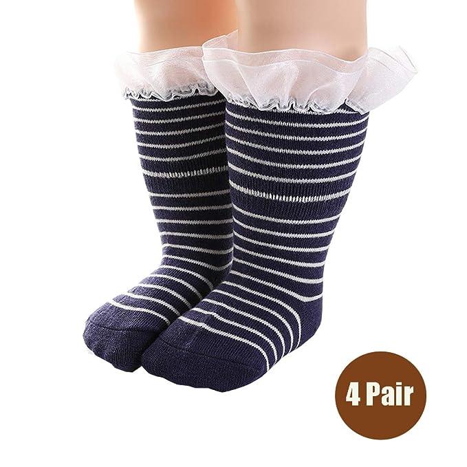 DOTBUY Lindo Raya Calcetines de Bebé Niños, 4 pares Unisexo Algodón Niñas Calcetines Cómodo Suave Absorben el Sudor Navidades Calcetines Socks para 0-4 ...