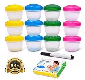 Baby Food Storage Plastic Container Set- 12 Piece 4 Oz Organizer Kit- Small, Reusable, Portable, Travel Friendly Boxes with Lids for Baby and Toddler Homemade Meal Prep- Freezer, Dishwasher-Safe