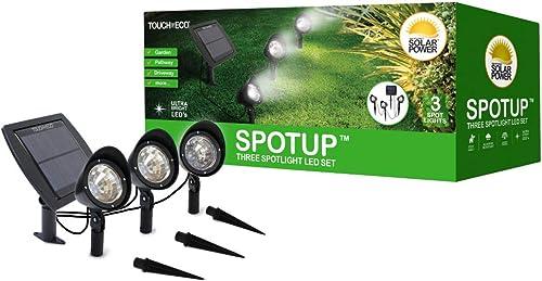 Solar Powered 3 Spotlight LED Set – Produces Ultra Bright LED Light – Includes 3 Spotlights and High Efficiency Solar Panel