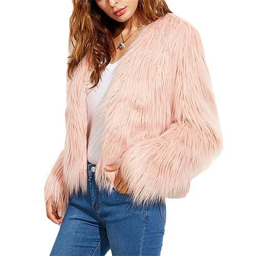 iBaste Corto Chaquetas de Pelo Mujer V-cuello Abrigo Fur Jacket Parca Pelo Sintético Invierno