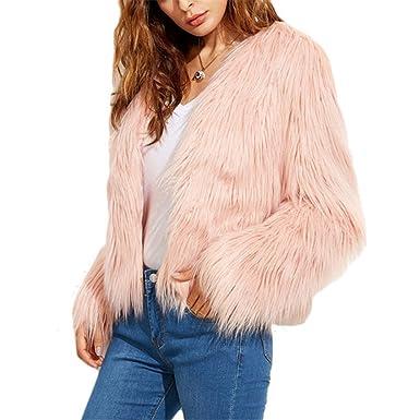 iBaste Corto Chaquetas de Pelo Mujer V-Cuello Abrigo Fur Jacket Parca Pelo Sintético Invierno: Amazon.es: Ropa y accesorios