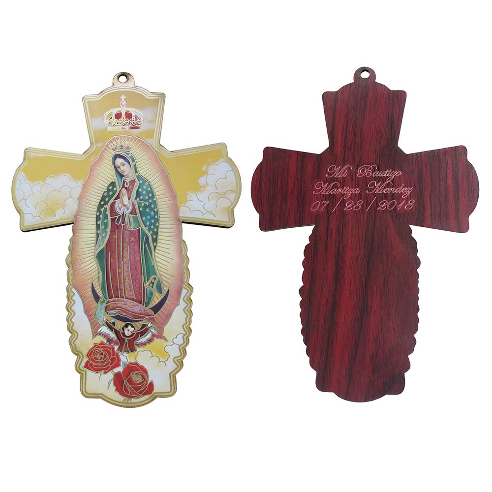 Personalized Wood Cross Favor 12PCS -Our Lady of Guadalupe Baptism Party Giveway Gift/Boy Girl/Customized Christening/First Communion Wall Crucifix Favor by WE