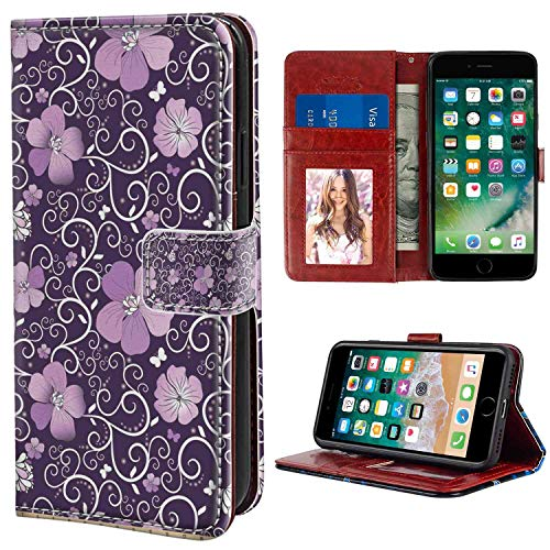 iPhone 6 Plus, iPhone 6S Plus Wallet Case, Floral Butterfly Silhouettes with Plant Flower Patterned Design Swirls Curves Lilac Dark Purple WHI PU Leather Folio Case with Card Holder and ID Coin Slot (Floral Swirls Iphone)
