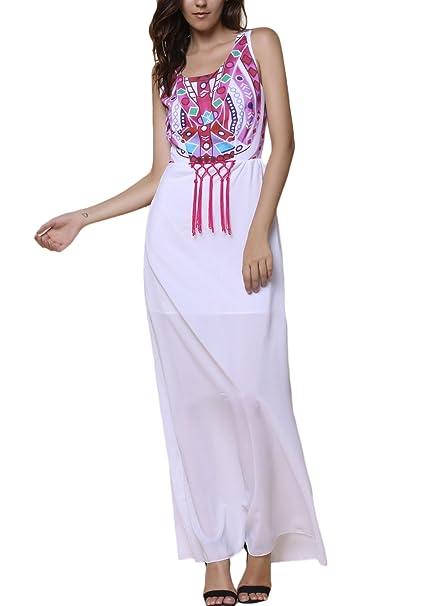 Vestidos Mujer Vestidos Largos De Verano Sin Mangas Cuello Redondo Impresión Vintage Dresses Señoras Moderno Hippies
