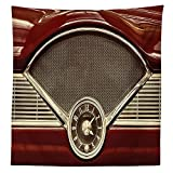 1950s Decor Tablecloth Clock on the Dashboard of a Maroon Classic Fifties Car Classical Automobile Close up Dining Room Kitchen Rectangular Table Cover