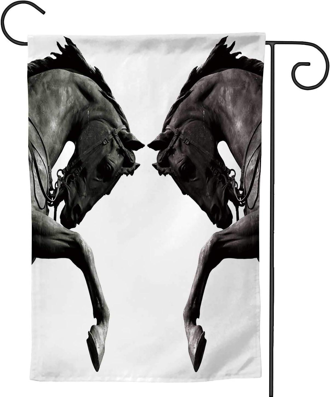 C COABALLA Twin Horses,Welcome Garden Flag Double Sided Rustic Farmhouse Burlap Yard Outdoor Decoration 12.5''x18''