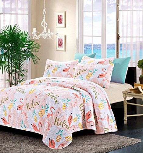 100% Polyester Relax Flamingo Oversized Quilt 3 Pack Set  fo