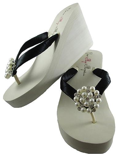 e921e7b97664 Ivory High Wedge Pearl Wedding Flip Flops with Black Satin and Rhinestone  Bridal Shoes