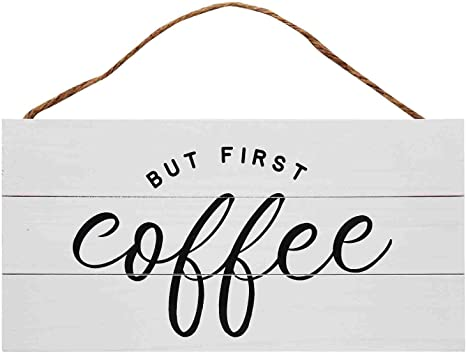 13.75 x 6.9 Inches GSM Brands Coffee Wood Plank Hanging Sign for Kitchen