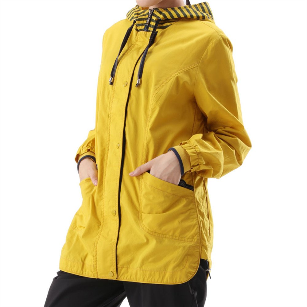Lrud Women's Waterproof Rain Jacket Hooded Zip up Outdoor Raincoat Casual Windbreaker Yellow XL