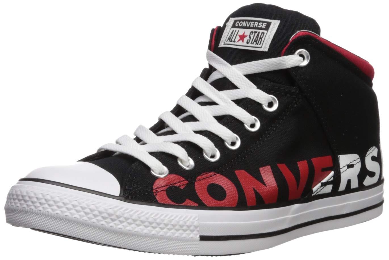 Converse Men's Chuck Taylor All Star High Street Wordmark 2.0 Sneaker, Black/White/Enamel Red, 11 M US