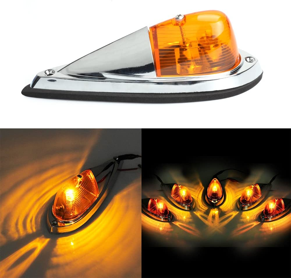Amber Lense Keyecu 5 Pieces 12V Amber Waterproof Cab Marker Roof Top Clearance Light Replacement for Semi-trailer Truck Trailer RV Camper