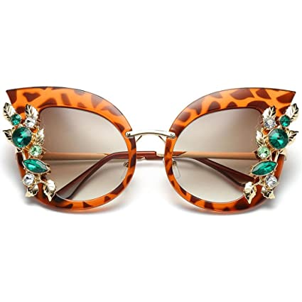 975683617f76 Amazon.com  BCDshop Womens Sun Glasses Fashion Artificial Diamond Cat Ear  Metal Frame Brand Classic Sunglasses Gift (Orange)  Musical Instruments