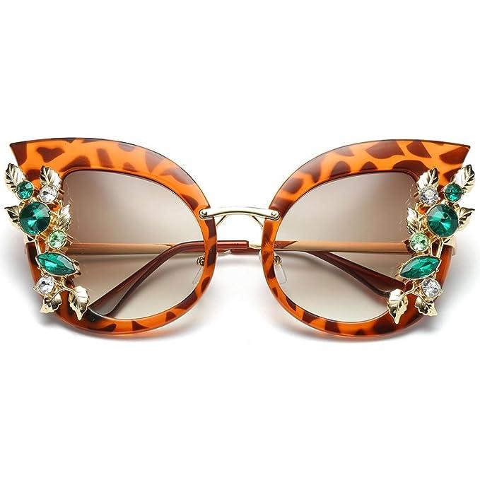 Occhiali da sole Donna Moda Occhio di gatto Artificiale Vintage Retro Diamante Gatto Orecchio Metallo Telaio Marca Classico Cat Eye UV400 Sunglasses Eyewear Triangle Rawdah (A)