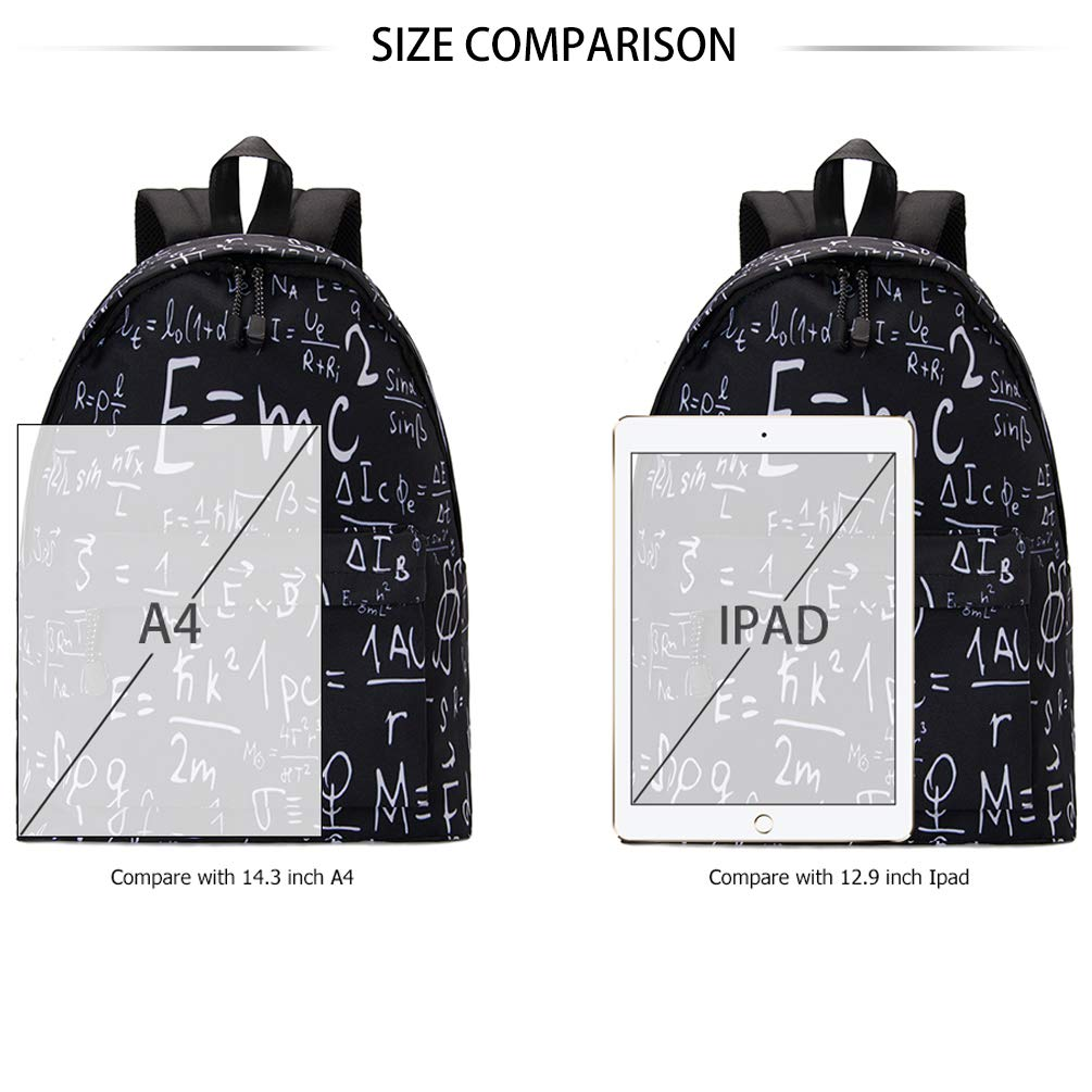 TUONROAD 3D Printed Backpack School Bag Stylish Laptop Daypack Travel Bag Unisex Formula Pattern Children Schoolbag Bookbag