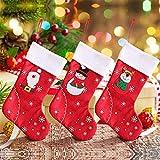 Yahpetes Christmas Stockings 3 Pcs Santa Claus Candy Sock Bags 7.9