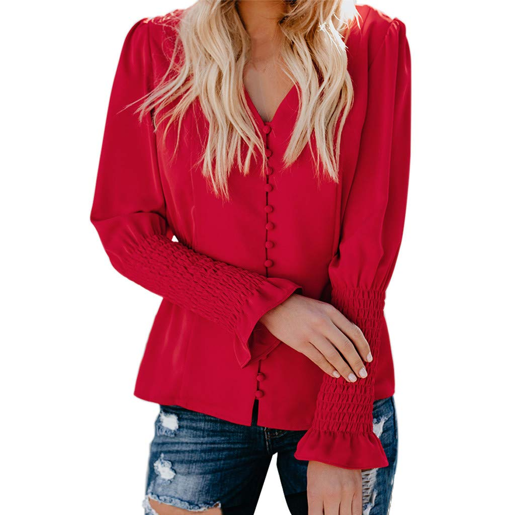 Kiminana WomenCasual Solid Long Sleeve Soild Button V Neck Slim Fit Shirt Tops Blouse Red