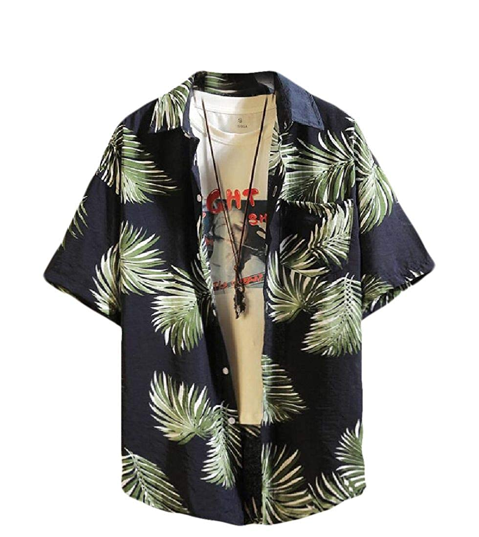 pipigo Men Button Front Casual Hawaii Short Sleeve Beach Shirt