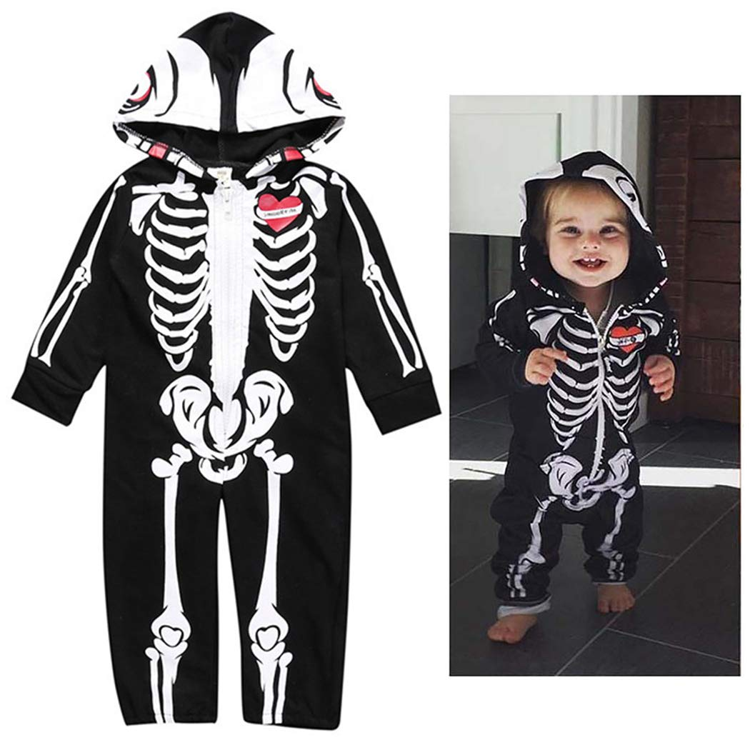 Kapmore Halloween Baby Jumpsuit Fashion Skeleton Long Sleeve Baby Playsuit Baby Romper by Kapmore