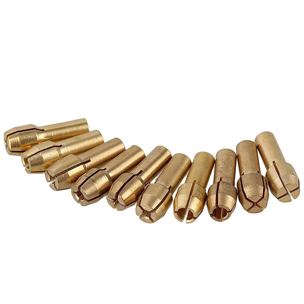 Paor 10 Pcs 4.3mm Shank 0.5-3.2mm Brass Collet Drill Chuck Fits Dremel Rotary Tools Electric Grinding Drill Collect Chuck Holder 0.5-3.2mm