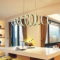 Modern LED Pendant Light for Dining Room Kitchen Living Room, White Acrylic Metal Spiral Hanging Light for Café Bars…