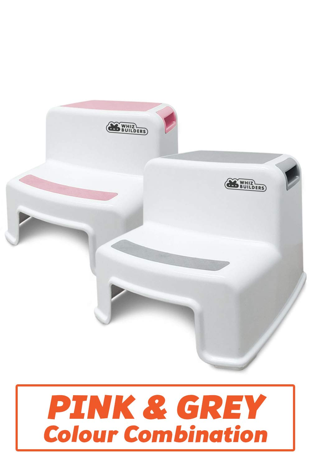 2 Step Stool for Kids and Toddler - Stepping Bathroom Potty Training Stool - Dual Height Plastic stools for Children/Child Safety - Slip/Skid Resistant Steady Grip for Toilet, Kitchen, Bed by KinderBerries