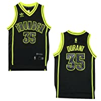 LIMITED EDITION: YOUTH NBA Oklahoma City Thunder Durant #35 Pro Quality Athletic Jersey Top with Embroidered Logo & Numbers - Black