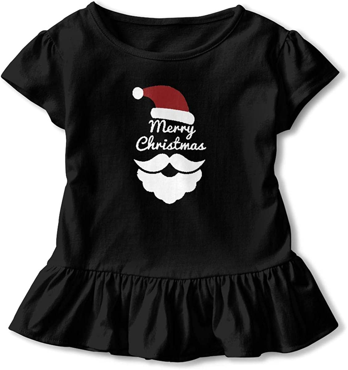 Not Available Merry Christmas Shirt Baby Girls Flounced Cotton Basic Shirt for 2-6 Years Old Baby