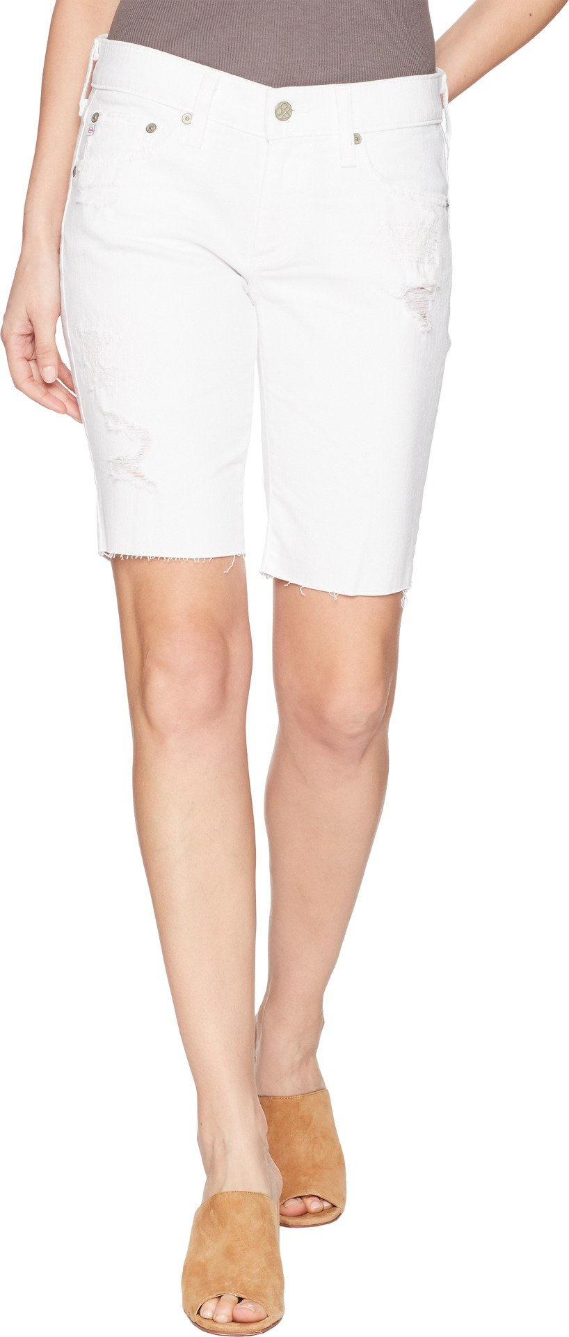 AG Adriano Goldschmied Women's Nikki Short Raw Hem, Year White Mended, 25