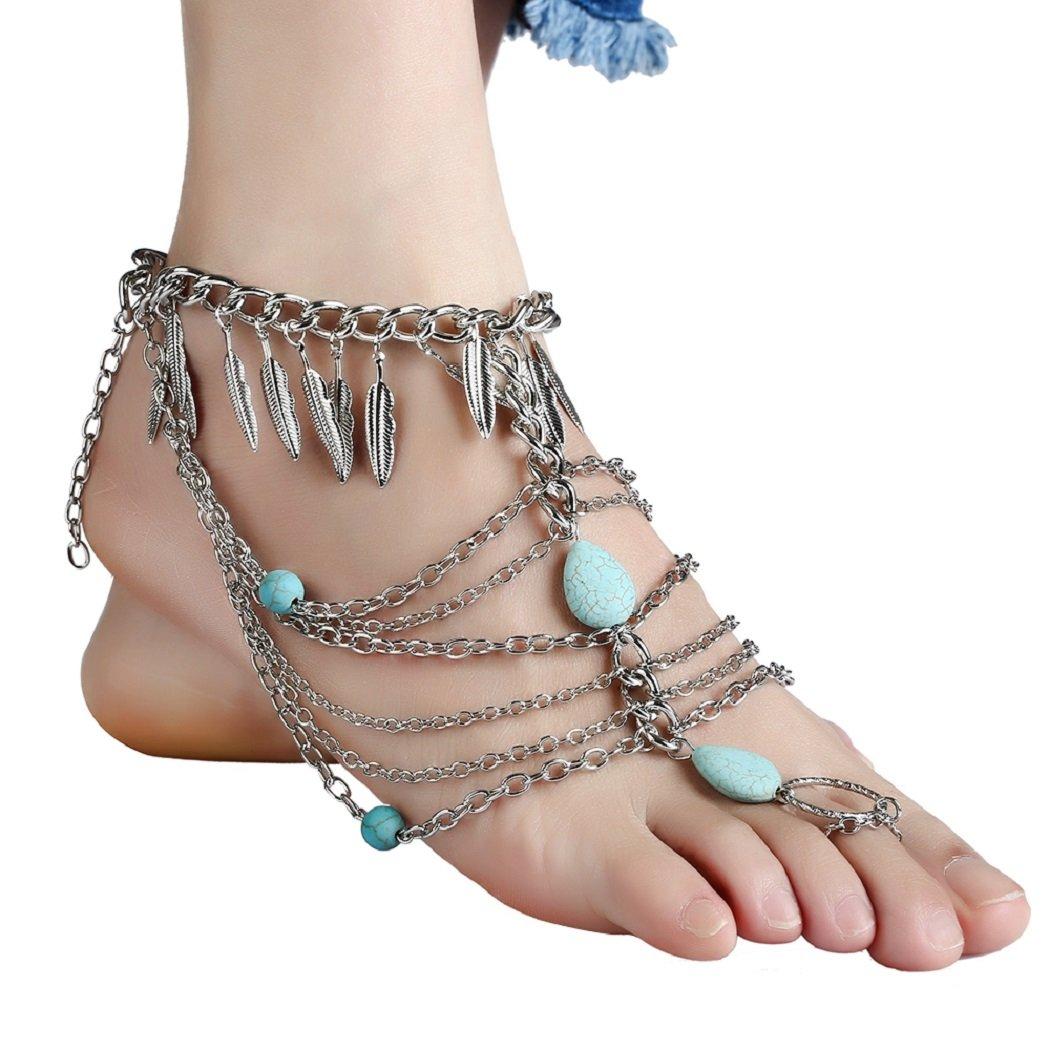 SUNSCSC Anklets Boho Vintage Link Toe Ring Leaf Turquoise Blessing Symbol Tassel Indian Foot Jewelry Set Pack of 2 PCS (Silver)