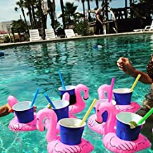 Inflatable Pool Flamingo Coasters Cool Outdoor Swimming Bath Kiddie Toys Water Floating Coke Cup Drink Holder Flotation Devices Luau Tropical Party Decorations Swim Floats Pink (4 Pieces)(Flamingo Coasters)
