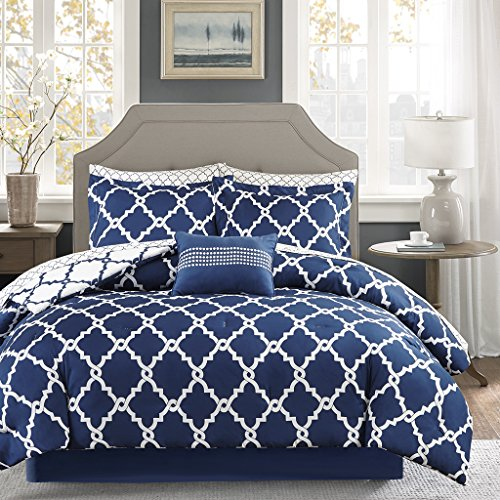 Madison Park MPE10-089 Essentials Merritt Complete Bed and Sheet Set Twin Navy