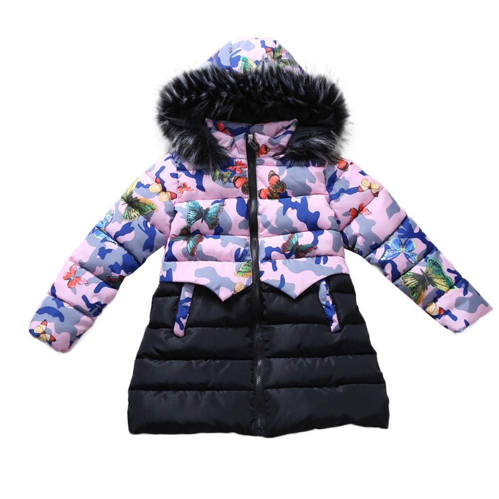 Little Kids Winter Warm Coat,Jchen(TM) Fashion Children Kids Little Girl Winter Warm Coats Jacket Kid Zipper Thick Hoodie Camouflage Outerwear Jacket for 5-9 Y (Age: 5 Y)
